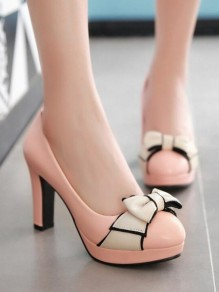 Chaussures bout rond chunky noeud papillon mode à talons hauts rose