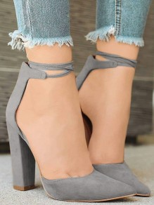 Grey Point Toe Chunky Fashion High-Heeled Shoes