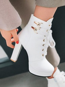 White Round Toe Sequin Fashion Ankle Boots