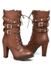 Brown Round Toe Rivet Chunky Fashion Ankle Boots