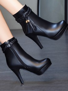 Black Round Toe Tassel Zipper Chunky Fashion Boots