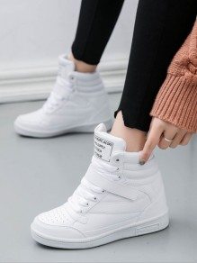 White Round Toe Lace-up Casual Ankle Shoes