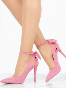 Pink Point Toe Stiletto Bow Cut Out Fashion High-Heeled Suede Shoes