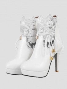 White Point Toe Pearl Embroidery Fashion Ankle Boots