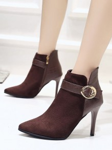 Coffee Point Toe Fashion Ankle Boots