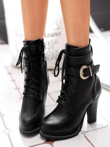 Black Round Toe Chunky Buckle Cross Strap Fashion Ankle Boots