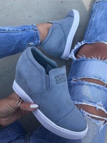 Grey Round Toe Wedges Casual Ankle Shoes
