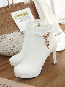 Bottes bout rond trapu fa?on strass cheville blanc