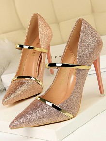 Pink Point Toe Stiletto Sequin Formal Fashion High-Heeled Shoes