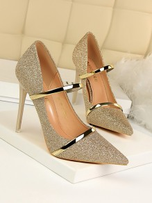 Golden Point Toe Stiletto Sequin Formal Fashion High-Heeled Shoes