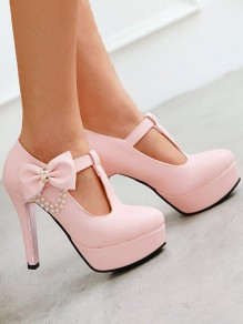 Chaussures bout rond chunky noeud papillon mode douce talons hauts rose