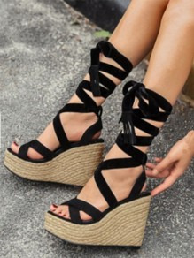 Black Round Toe Wedges Fashion High-Heeled Sandals