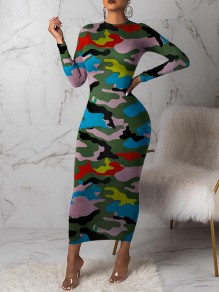 Army Green Camouflage Bodycon Round Neck Long Sleeve Party Maxi Dress