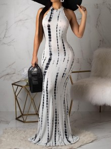 White Tie Dyeing Halter Neck Bodycon Mermaid Bohemian Party Maxi Dress