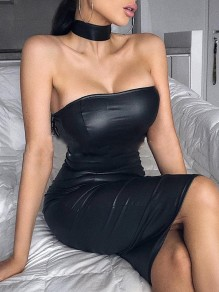 Black Off Shoulder PU Leather Latex Bodycon Prom Evening Party Maxi Dress