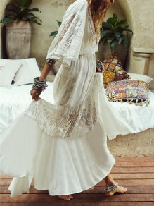 White Patchwork Lace Drawstring 3/4 Flare Sleeve Deep V-neck Elegant Beach Wedding Bohemian Boho Maxi Dress
