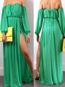 Green Off Shoulder Pleated Backless Long Sleeve Slits Bohemian Party Beach Wedding Maxi Dress