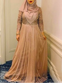 Golden Patchwork Sequin Grenadine Muslim Sparkly Wedding Banquet Party Maxi Dress