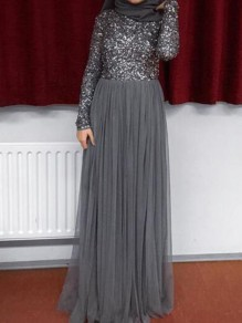 Grey Patchwork Sequin Grenadine Muslim Sparkly Wedding Banquet Party Maxi Dress