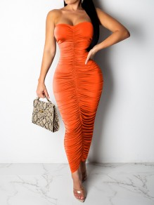 Robe longue épaule dos nu moulante mode club orange