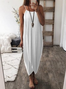 White Irregular Pleated Spaghetti Straps Sleeveless Beach Maxi Dress