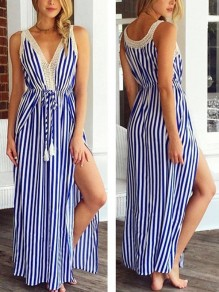 Navy Blue Striped Print Lace Drawstring Slit V-neck Sleeveless Fashion Maxi Dress