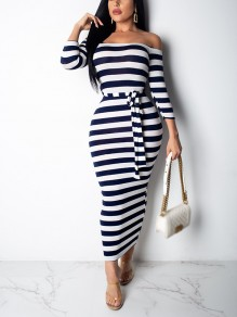 Navy Blue Striped Print Belt Off Shoulder Bodycon Long Sleeve Fashion Maxi Dress