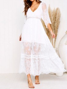 White Patchwork Lace Single Breasted Backless V-neck Elegant Maxi Dress
