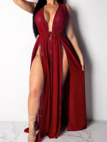 Burgundy Irregular Deep V-neck Drawstring Bikini Cover-up Bohemian Smock Maxi Dress