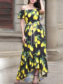 Black Yellow Lemon Floral Print Lace-up High-Low Off Shoulder Short Sleeve Elegant Bohemian Maxi Dress