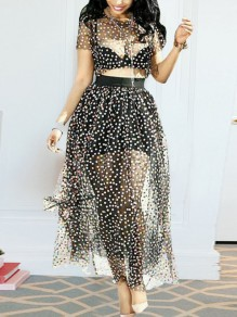 Black Polka Dot Two Piece Grenadine Sheer High Waisted Party Maxi Dress
