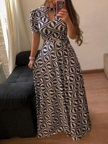 Black White Floral Print Sashes Cut Out Big Swing High Neck Short Sleeve Bohemian Maxi Dress