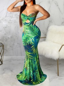 Green Palm Leaf Bandeau Cut Out Off Shoulder Mermaid Holiday Bohemian Tropical Maxi Dress