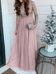 Pink Patchwork Grenadine Sequin Pleated Sparkly Glitter Birthday Prom Evening Party Maxi Dress