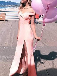 Pink Bandeau Comfy Sweet Cocktail Party Fashion Boat Neck Maxi Dress