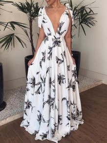White Floral Cut Out Sashes Backless Deep V-neck Bohemian Beach Maxi Dress