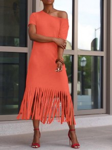 Maxi dress pompon asymétrique casual orange