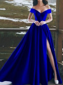 Sapphire Blue Draped Side Slit Off Shoulder Big Swing Elegant Maxi Dress