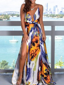 White Tie Dyeing Spaghetti Strap Pleated Thigh High Side Slits V-neck Bohemian Beachwear Maxi Dress