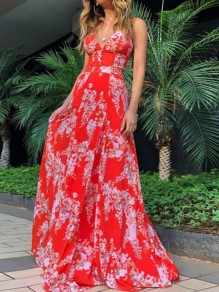 Red Floral Print Buttons Cross Back Spaghetti Strap V-neck Bohemian Maxi Dress