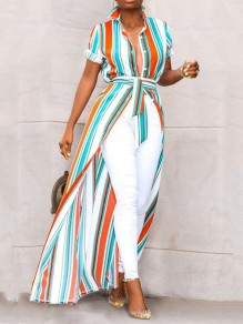 Orange Blue Striped Single Breasted Belt Long Sleeve Casual Bohemian Beachwear Maxi Dress