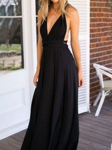 Black Sashes Comfy Sweet Cocktail Party V-neck Maxi Dress