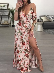 Pink Floral Print Spaghetti Strap Pleated Thigh High Side Slits V-neck Plus Size Bohemian Beachwear Maxi Dress