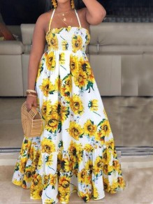 Yellow Sunflower Print Ruffle Spaghetti Strap Backless Pleated Flowy Bohemian Maxi Dress