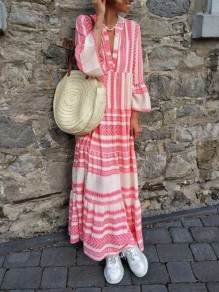 Pink Geometric Pleated Deep V-neck Flare Sleeve Flowy Bohemian Maxi Dress