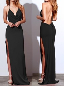 Black Draped Side Slit Halter Neck Backless V-neck Elegant Maxi Dress