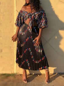 Black Letter Print Pleated Off Shoulder Half Sleeve Two Piece Party Maxi Dress
