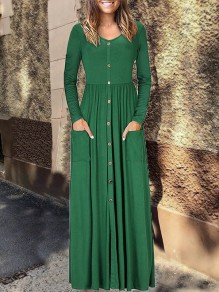 Green Single Breasted Pleated Pocket Long Sleeve V-neck Casual Fashion Women Christmas Maxi Dress