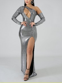 Silver Patchwork Sequin Asymmetric Shoulder Cut Out Bodycon Mermaid Side Slits Sparkly Glitter Birthday Party Maxi Dress