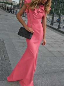 Pink Patchwork Lace Cascading Ruffle Fishtail Mermaid Party Prom Maxi Dress
